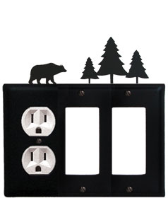 Bear & Pine Trees - Single Outlet and Double GFI Cover