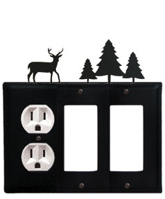 Deer & Pine Trees - Single Outlet and Double GFI Cover