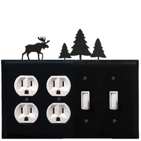 Moose & Pine Trees - Double Outlet and Double Switch Cover