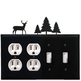 Deer & Pine Trees - Double Outlet and Double Switch Cover