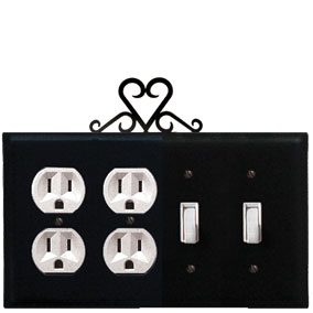 Heart - Double Outlet and Double Switch Cover
