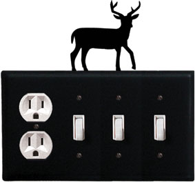Deer - Single Outlet and Triple Switch Cover - CUSTOM Product - If Out Of Stock, Allow 4 to 6 Weeks