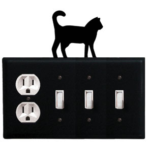 Cat - Single Outlet and Triple Switch Cover - CUSTOM Product - If Out Of Stock, Allow 4 to 6 Weeks