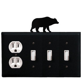 Bear - Single Outlet and Triple Switch Cover - CUSTOM Product - If Out Of Stock, Allow 4 to 6 Weeks