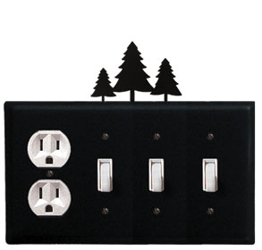 Pine Trees - Single Outlet and Triple Switch Cover - CUSTOM Product - If Out Of Stock, Allow 4 to 6 Weeks