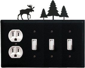 Moose & Pine Trees - Single Outlet and Triple Switch Cover - CUSTOM Product - If Out Of Stock, Allow 4 to 6 Weeks