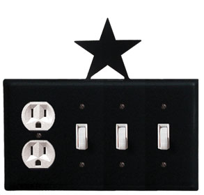 Star - Single Outlet and Triple Switch Cover - CUSTOM Product - If Out Of Stock, Allow 4 to 6 Weeks