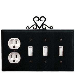 Heart - Single Outlet and Triple Switch Cover - CUSTOM Product - If Out Of Stock, Allow 4 to 6 Weeks