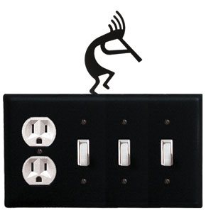 Kokopelli - Single Outlet and Triple Switch Cover - CUSTOM Product - If Out Of Stock, Allow 4 to 6 Weeks