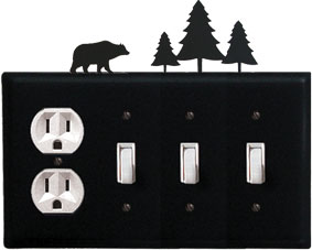 Bear & Pine Trees - Single Outlet and Triple Switch Cover - CUSTOM Product - If Out Of Stock, Allow 4 to 6 Weeks