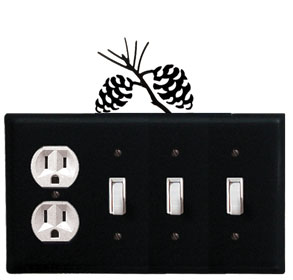 Pinecone - Single Outlet and Triple Switch Cover - CUSTOM Product - If Out Of Stock, Allow 4 to 6 Weeks