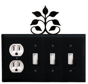 Leaf Fan - Single Outlet and Triple Switch Cover - CUSTOM Product - If Out Of Stock, Allow 4 to 6 Weeks