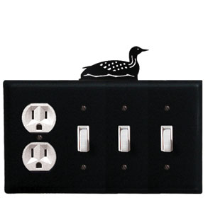 Loon - Single Outlet and Triple Switch Cover - CUSTOM Product - If Out Of Stock, Allow 4 to 6 Weeks