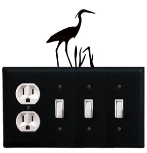 Heron - Single Outlet and Triple Switch Cover - CUSTOM Product - If Out Of Stock, Allow 4 to 6 Weeks