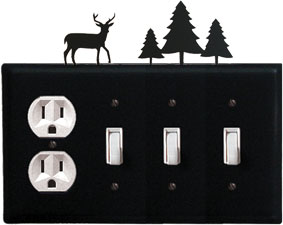 Deer & Pine Trees - Single Outlet and Triple Switch Cover - CUSTOM Product - If Out Of Stock, Allow 4 to 6 Weeks