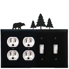 Bear & Pine Trees - Double Outlet and Double Switch Cover - CUSTOM Product - If Out Of Stock, Allow 4 to 6 Weeks