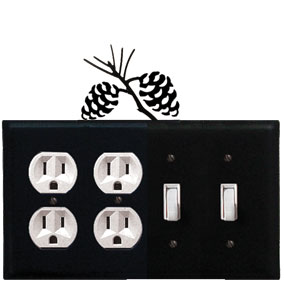 Pinecone - Double Outlet and Double Switch Cover - CUSTOM Product - If Out Of Stock, Allow 4 to 6 Weeks