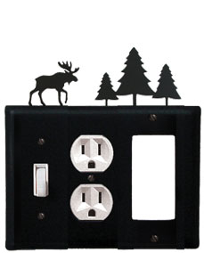 Moose & Pine Trees - Single Switch, Outlet and GFI Cover - CUSTOM Product - If Out Of Stock, Allow 4 to 6 Weeks