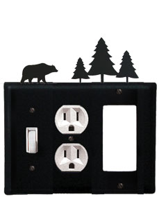 Bear & Pine Trees - Single Switch, Outlet and GFI Cover - CUSTOM Product - If Out Of Stock, Allow 4 to 6 Weeks