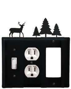 Deer & Pine Trees - Single Switch, Outlet and GFI Cover - CUSTOM Product - If Out Of Stock, Allow 4 to 6 Weeks