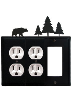 Bear & Pine Trees - Double Outlet and Single GFI Cover