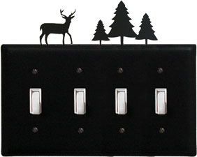 Deer & Pine - Quadruple Switch Cover