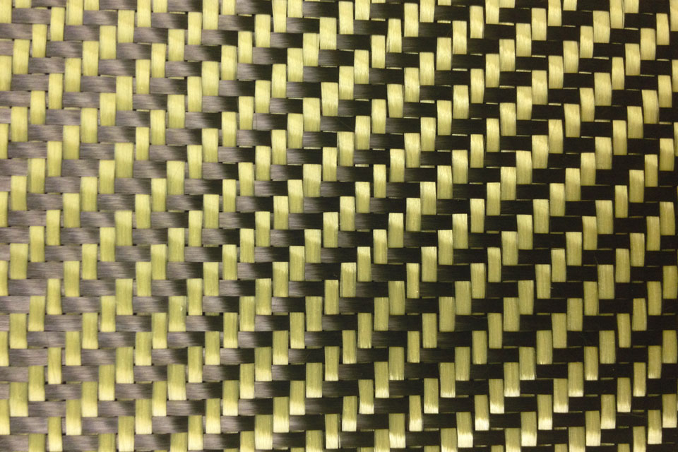 5.4 oz Carbon Fiber/Aramid Yellow 2x2 Twill Weave Swatch