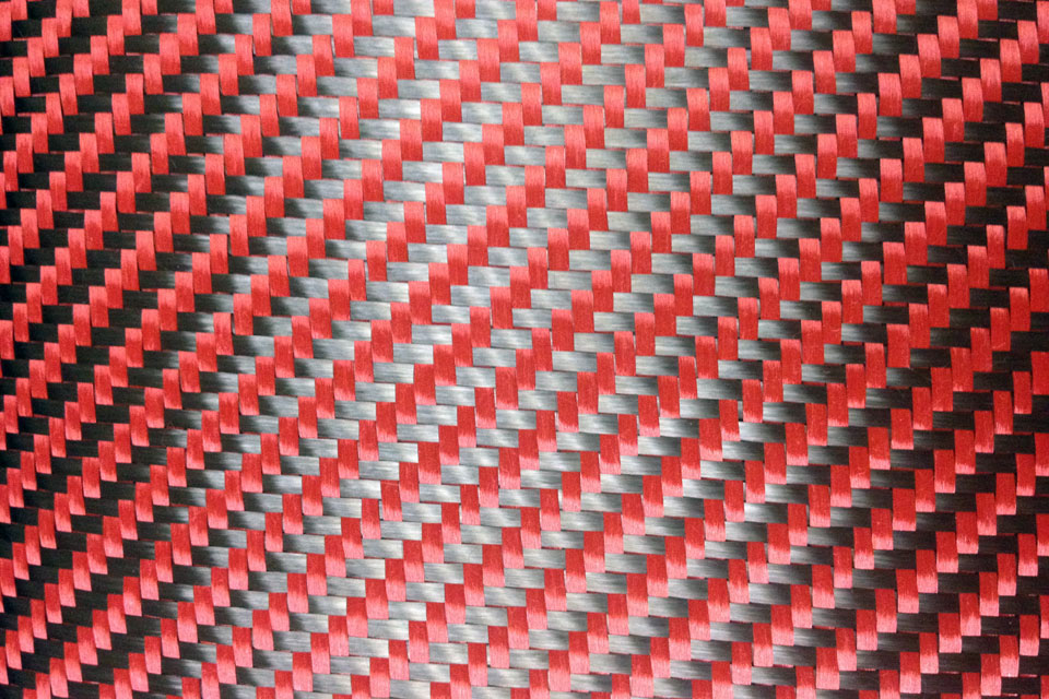 5.4 oz Carbon Fiber/Aramid Red 2x2 Twill Weave Swatch