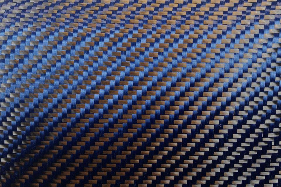 5.4 oz Carbon Fiber/Aramid Blue 2x2 Twill Weave Swatch